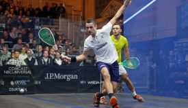 Baptiste Masotti (left) takes on Youssef Soliman (right) during the 2020 J.P. Morgan Tournament of Champions
