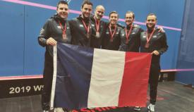 Team France at the 2019 WSF Men's World Team Squash Championship (L-R): Renan Lavigne, Baptiste Masotti, Matthieu Benoit, Mathieu Castagnet, Gregory Gaultier, Gregoire Marche.
