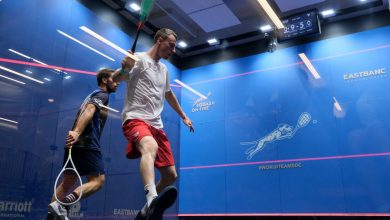 Squash in action during the 2019 WSF Men's World Team Squash Championships