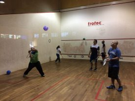 The children of Paradise Down Foundation doing on court activities
