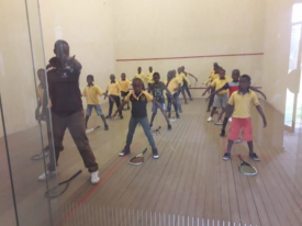 Sizwile School for Deaf Children receiving their introduction to squash
