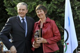 Susie Simcock with then IOC President Jacques Rogge