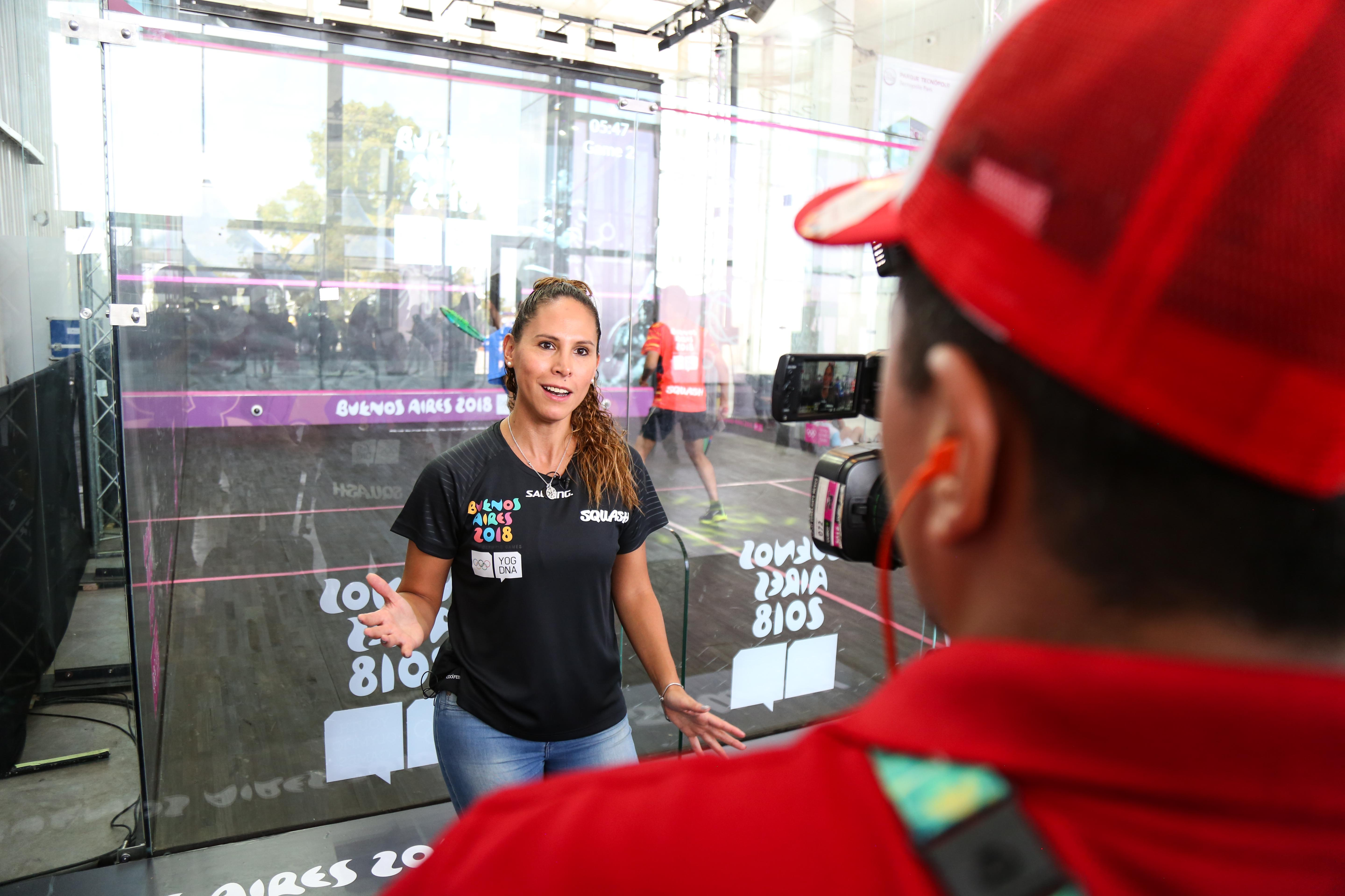 Samantha Teran speaks to the media during the 2018 Buenos Aires Youth Olympic Games