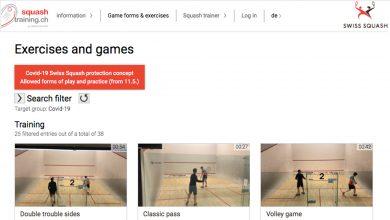 Swiss Squash's 'Squash Training' online portal