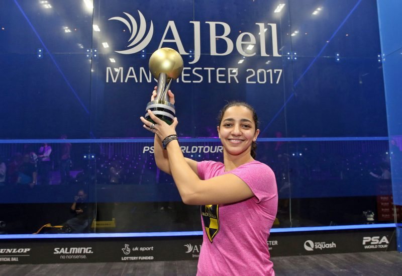 Raneem El Welily with the 2017 PSA Women's World Championship trophy