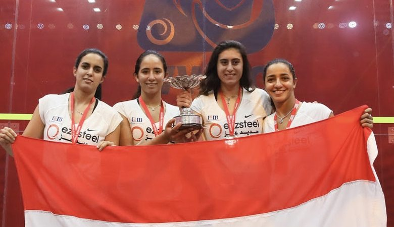 Raneem El Welily (right) pictured with Nour El Tayeb (left), Nouran Gohar (centre left) and Nour El Sherbini (centre right) after winning the 2018 WSF Women's World Team Squash Championship