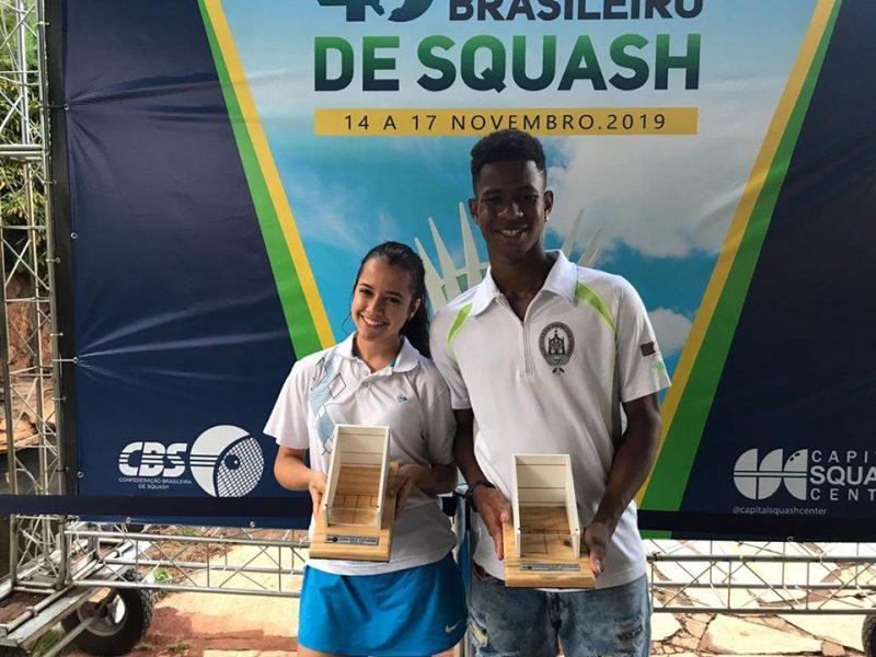 Emanuelle Nunes and João Victor from Squashinhos