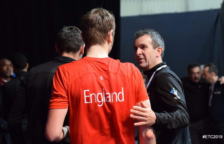 David Campion (right) speaks to James Willstrop during the 2019 European Team Squash Championships