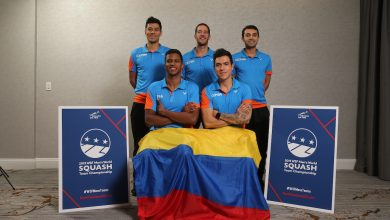 Colombian National Coach Martin Knight (back row, centre) and his Colombia team which appeared at the 2020 WSF Men's World Team Squash Championship