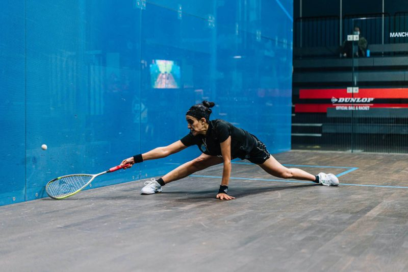 Nour El Tayeb in action during the 2020 Manchester Open final
