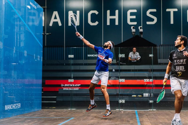 Mohamed ElShorbagy (left) takes on Karim Abdel Gawad during the 2020 Manchester Open