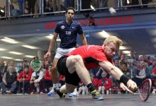 Joel Makin (right) takes on Tarek Momen during the 2019 WSF Men's World Team Squash Championship