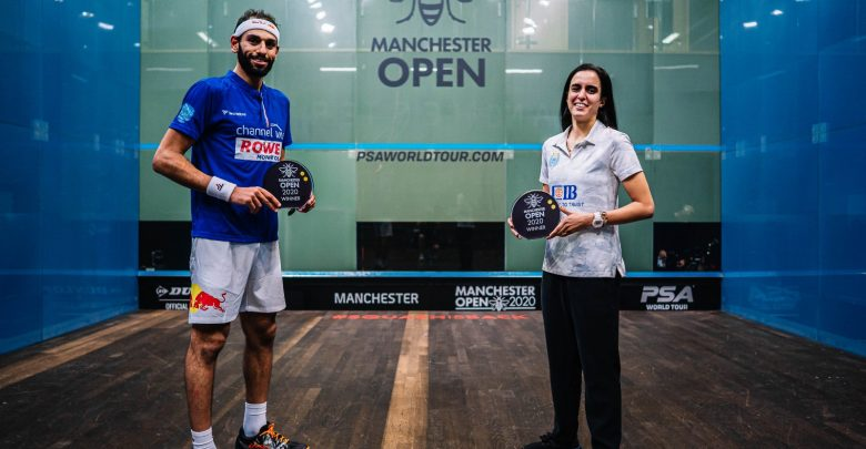 Mohamed ElShorbagy (left) and Nour El Tayeb (right) with the 2020 Manchester Open trophies