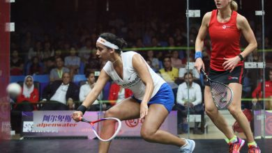 Egypt's Nouran Gohar (left) takes on Alison Waters of England (right) during the 2018 WSF Women's World Team Squash Championship in Dalian, China