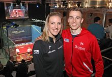 Laura Massaro (left) and Nick Matthew (right). Photo credit: squashpics.com