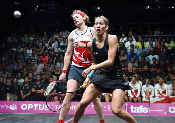 Joelle King of New Zealand (right) takes on England's Sarah-Jane Perry (left) during the 2018 Commonwealth Games Singles final