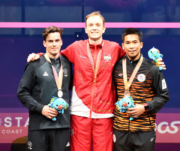 2018 Commonwealth Games Singles gold medallist James Willstrop of England (centre) with silver medallist Paul Coll of New Zealand (left) and bronze medallist Nafiizwan Adnan of Malaysia (right)