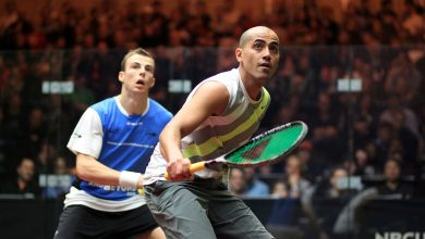 Wael El Hindi in action against Nick Matthew during the 2012 J.P. Morgan Tournament of Champions