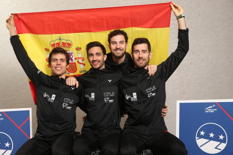 Carlos Cornes Ribadas (second from right) with Spain teammates Borja Golan (right), Iker Pajares Bernabeu (second from left) and Edmon Lopez (left)