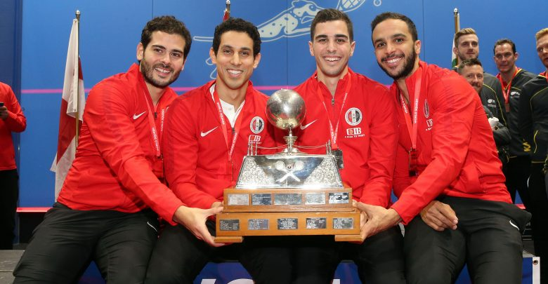 Team Egypt with the 2019 WSF Men's World Team Squash Championship Trophy