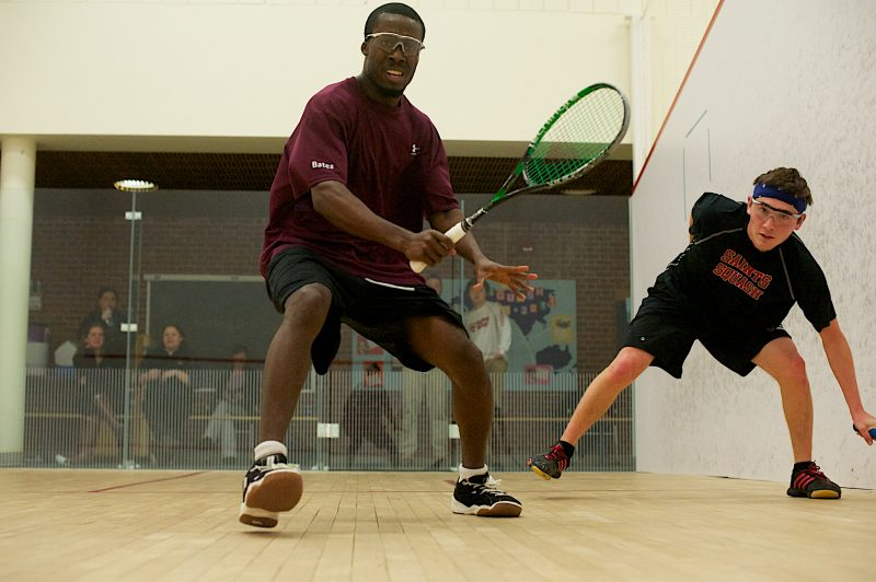 Patrick Williams (left) represents Bates College as he takes on Nathan Ticho of St. Lawrence