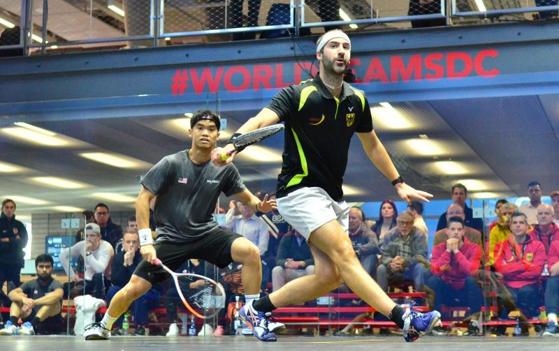 Simon Rösner of Germany takes on Malaysia Eain Yow Ng at the 2019 WSF Men's World Team Squash Championship