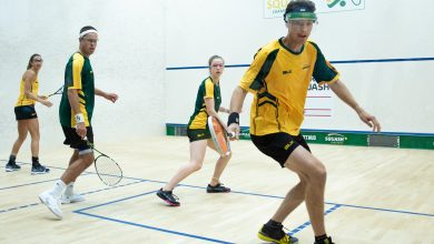 Australia's Cameron Pilley and Donna Lobban take on compatriots Zac Alexander and Alex Haydon during the 2019 WSF World Doubles Squash Championships semi-finals.