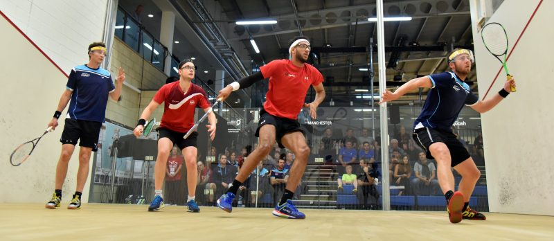 Ryan Cuskelly & Cameron Pilley of Australia take on James Willstrop & Declan James of England during the 2017 WSF Doubles