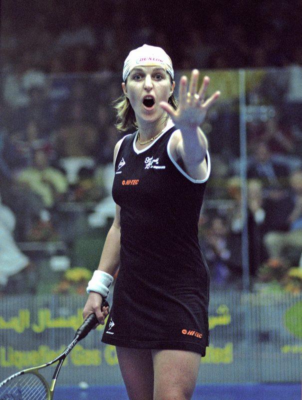 Sarah Fitz-Gerald celebrates her fifth and final World Championship triumph