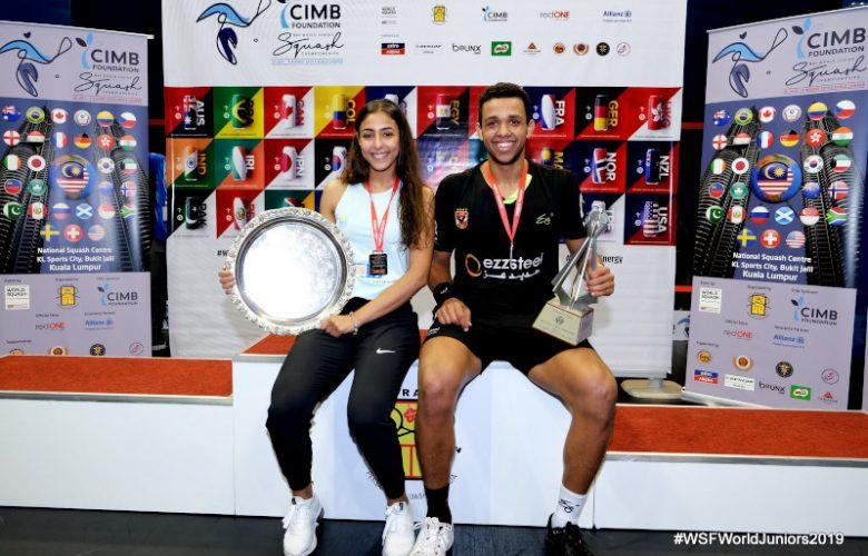 2019 WSF World Junior Squash Champions Hania El Hammamy (left) and Mostafa Asal (right).