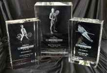 The World Games Greatest Athlete of All Time Trophies - Nicol David's is pictured centre