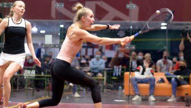 Emilia Soini (right) takes on Emilia Korhonen (left) during the women's 2021 Finnish Nationals final -please credit Petteri Repo.