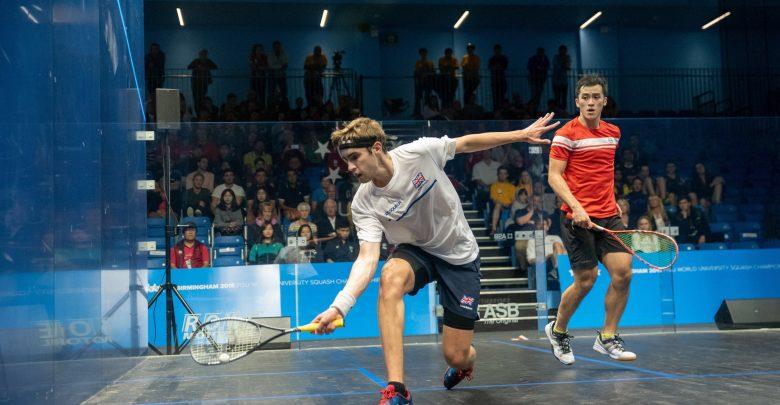 Joshua Masters (left) of Great Britain takes on Tsz Fung Yip during the 2018 FISU University Championship Squash