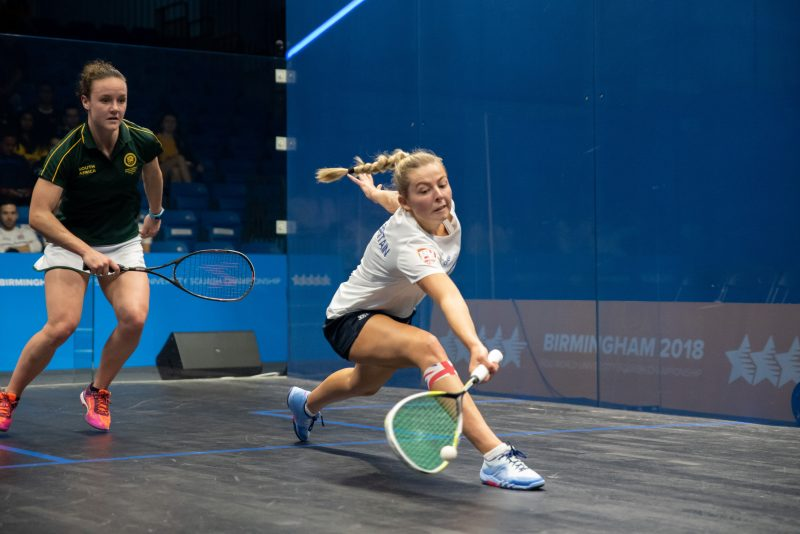 Lily Taylor of Great Britain takes on Alexa Pienaar of South Africa in the 2018 FISU World University Squash final