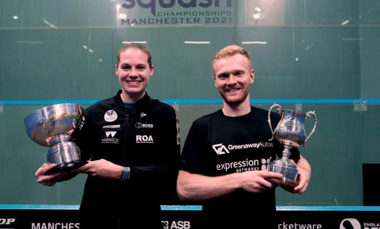 Sarah-Jane Perry (left) and Joel Makin right) with the 2021 British Nationals titles