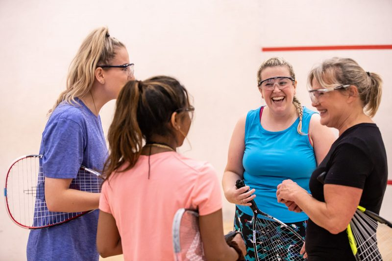 A group of female squash players